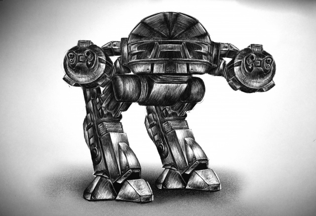 ED-209 Robot Draw Front