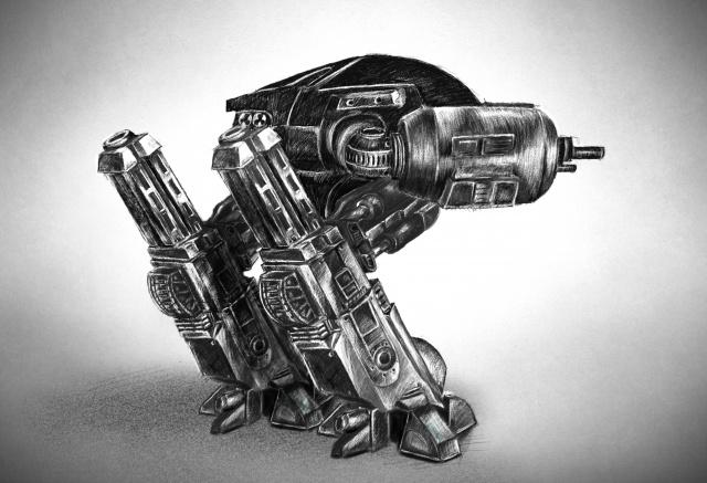 ED-209 Robot Draw Back